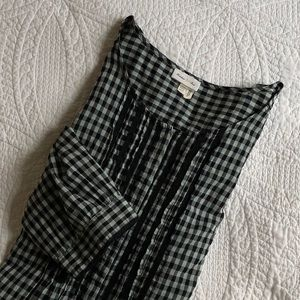 Meadow Rue Pintuck Gingham Blouse | Size 10